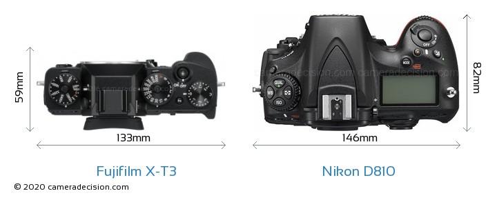 Fujifilm X-T3 vs Nikon D810 Camera Size Comparison - Top View