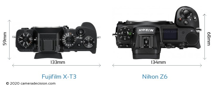 Fujifilm X-T3 vs Nikon Z6 Camera Size Comparison - Top View