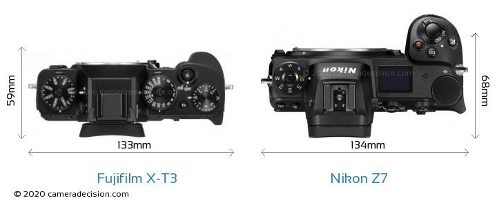 Fujifilm X-T3 vs Nikon Z7 Camera Size Comparison - Top View