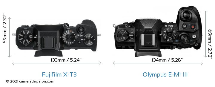 Fujifilm X-T3 vs Olympus E-M1 MIII Camera Size Comparison - Top View
