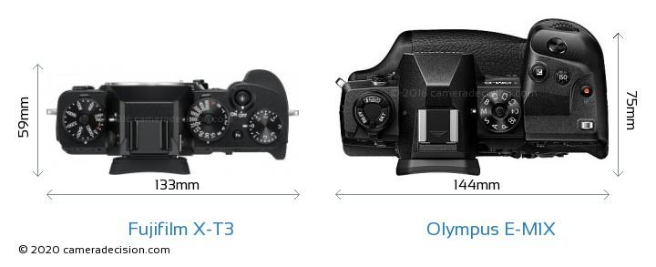 Fujifilm X-T3 vs Olympus E-M1X Camera Size Comparison - Top View