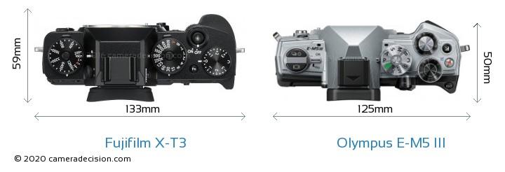 Fujifilm X-T3 vs Olympus E-M5 III Camera Size Comparison - Top View