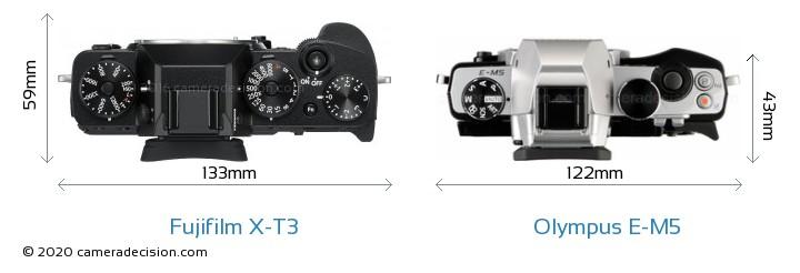 Fujifilm X-T3 vs Olympus E-M5 Camera Size Comparison - Top View