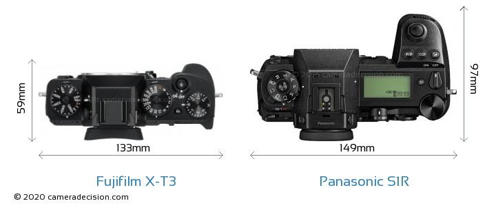 Fujifilm X-T3 vs Panasonic S1R Camera Size Comparison - Top View
