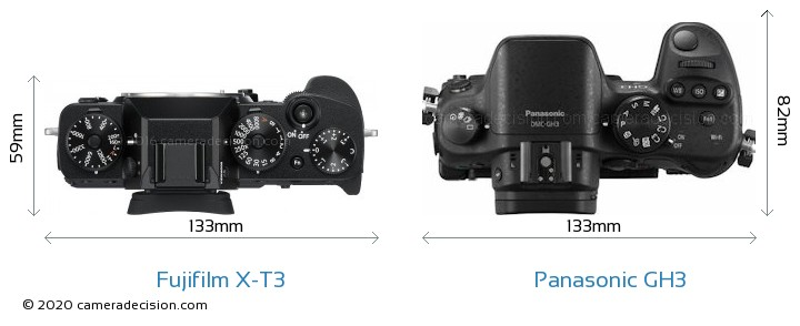 Fujifilm X-T3 vs Panasonic GH3 Camera Size Comparison - Top View