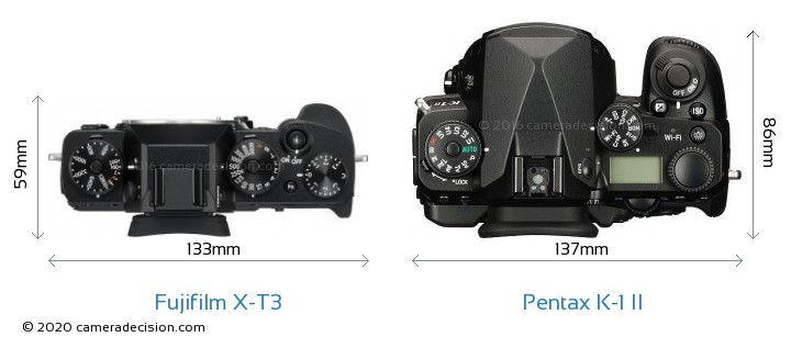Fujifilm X-T3 vs Pentax K-1 II Camera Size Comparison - Top View