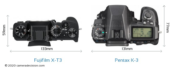 Fujifilm X-T3 vs Pentax K-3 Camera Size Comparison - Top View