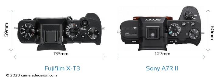 Fujifilm X-T3 vs Sony A7R II Camera Size Comparison - Top View