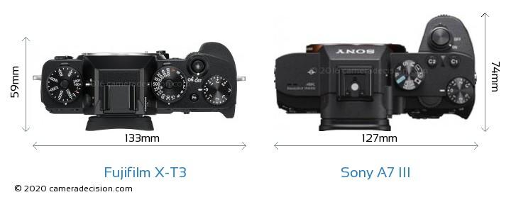 Fujifilm X-T3 vs Sony A7 III Camera Size Comparison - Top View