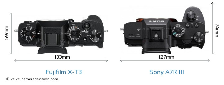 Fujifilm X-T3 vs Sony A7R III Camera Size Comparison - Top View
