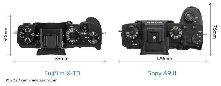 Fujifilm X-T3 vs Sony A9 II Camera Size Comparison - Top View