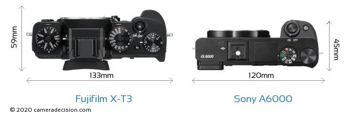 Fujifilm X-T3 vs Sony A6000 Camera Size Comparison - Top View