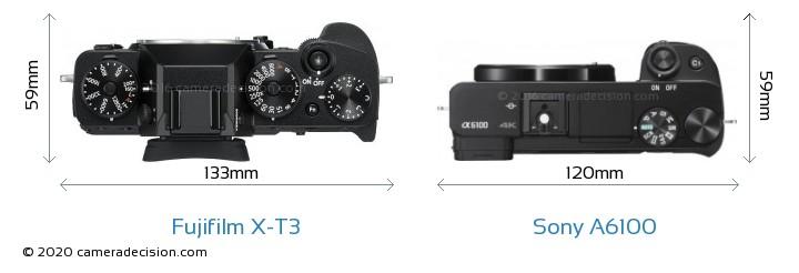 Fujifilm X-T3 vs Sony A6100 Camera Size Comparison - Top View