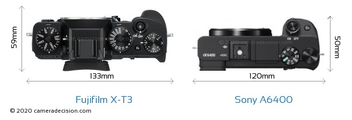 Fujifilm X-T3 vs Sony A6400 Camera Size Comparison - Top View