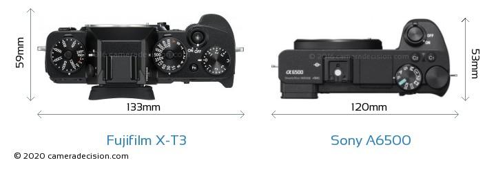 Fujifilm X-T3 vs Sony A6500 Camera Size Comparison - Top View