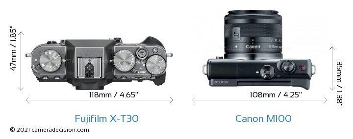 Fujifilm X-T30 vs Canon M100 Camera Size Comparison - Top View