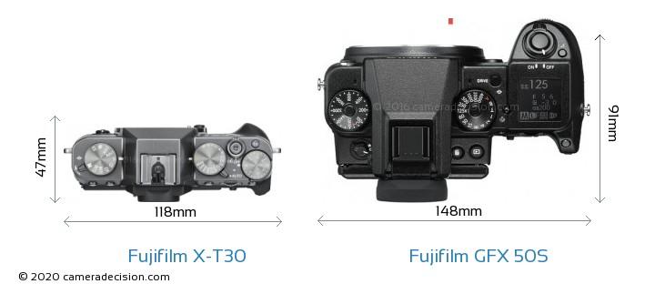Fujifilm X-T30 vs Fujifilm GFX 50S Camera Size Comparison - Top View