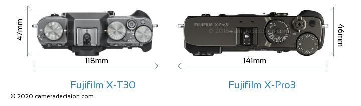 Fujifilm X-T30 vs Fujifilm X-Pro3 Camera Size Comparison - Top View