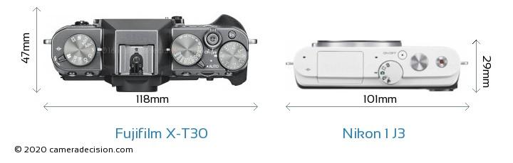 Fujifilm X-T30 vs Nikon 1 J3 Camera Size Comparison - Top View