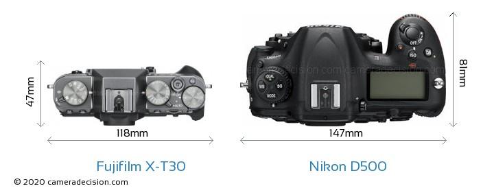 Fujifilm X-T30 vs Nikon D500 Camera Size Comparison - Top View