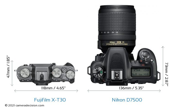 Fujifilm X-T30 vs Nikon D7500 Camera Size Comparison - Top View