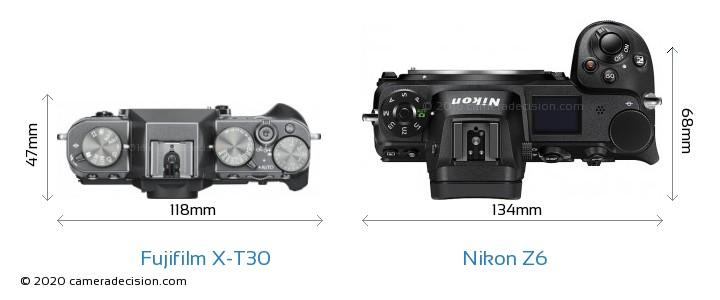 Fujifilm X-T30 vs Nikon Z6 Camera Size Comparison - Top View