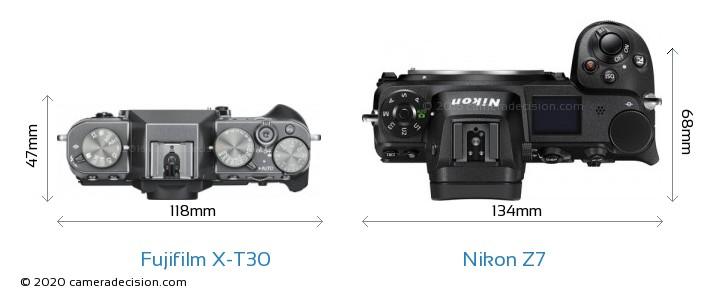 Fujifilm X-T30 vs Nikon Z7 Camera Size Comparison - Top View