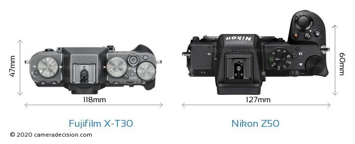 Fujifilm X-T30 vs Nikon Z50 Camera Size Comparison - Top View