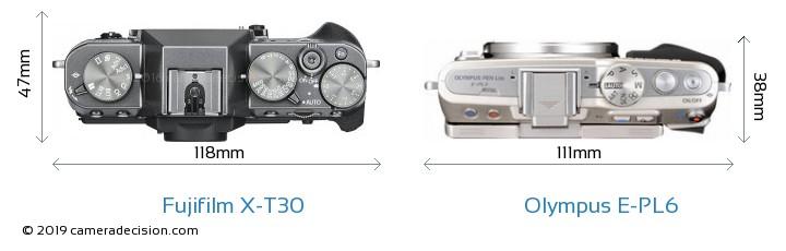 Fujifilm X-T30 vs Olympus E-PL6 Camera Size Comparison - Top View