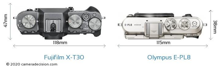 Fujifilm X-T30 vs Olympus E-PL8 Camera Size Comparison - Top View