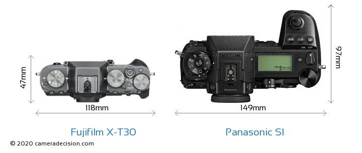 Fujifilm X-T30 vs Panasonic S1 Camera Size Comparison - Top View