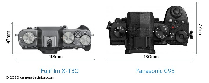 Fujifilm X-T30 vs Panasonic G95 Camera Size Comparison - Top View