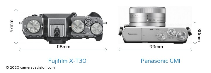 Fujifilm X-T30 vs Panasonic GM1 Camera Size Comparison - Top View