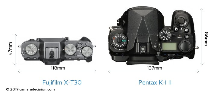 Fujifilm X-T30 vs Pentax K-1 II Camera Size Comparison - Top View