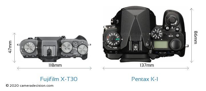 Fujifilm X-T30 vs Pentax K-1 Camera Size Comparison - Top View