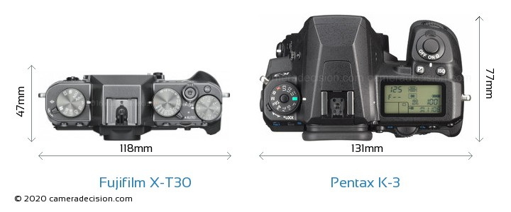 Fujifilm X-T30 vs Pentax K-3 Camera Size Comparison - Top View