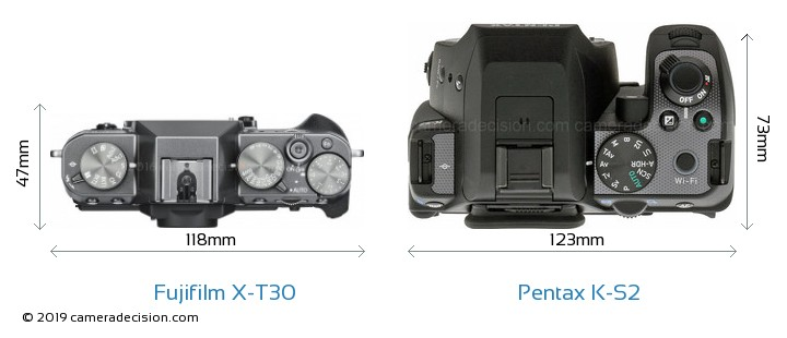Fujifilm X-T30 vs Pentax K-S2 Camera Size Comparison - Top View