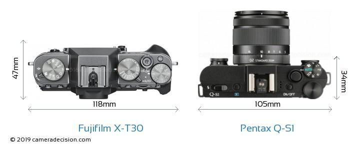 Fujifilm X-T30 vs Pentax Q-S1 Camera Size Comparison - Top View
