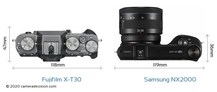 Fujifilm X-T30 vs Samsung NX2000 Camera Size Comparison - Top View