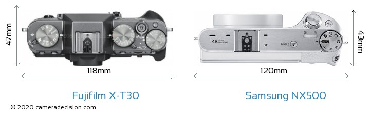 Fujifilm X-T30 vs Samsung NX500 Camera Size Comparison - Top View