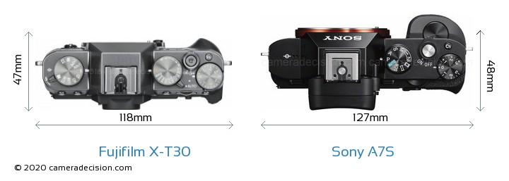 Fujifilm X-T30 vs Sony A7S Camera Size Comparison - Top View