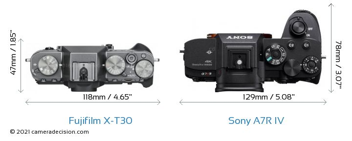 Fujifilm X-T30 vs Sony A7R IV Camera Size Comparison - Top View