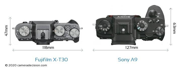 Fujifilm X-T30 vs Sony A9 Camera Size Comparison - Top View
