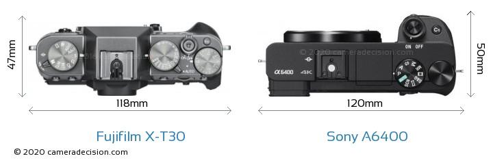 Fujifilm X-T30 vs Sony A6400 Camera Size Comparison - Top View