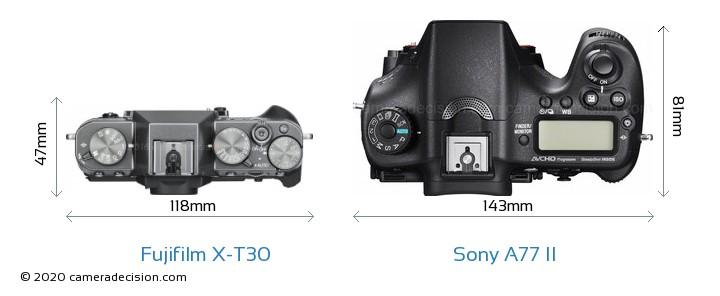 Fujifilm X-T30 vs Sony A77 II Camera Size Comparison - Top View