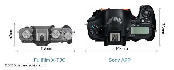 Fujifilm X-T30 vs Sony A99 Camera Size Comparison - Top View