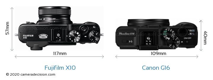 Fujifilm X10 vs Canon G16 Camera Size Comparison - Top View