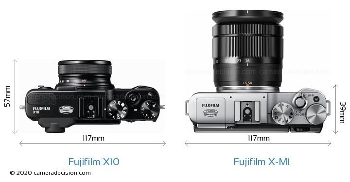 Fujifilm X10 vs Fujifilm X-M1 Camera Size Comparison - Top View