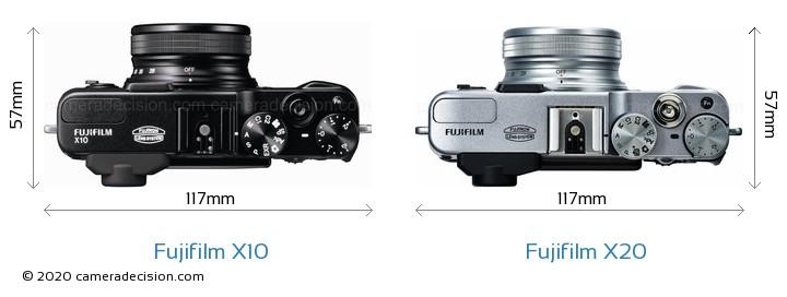 Fujifilm X10 vs Fujifilm X20 Camera Size Comparison - Top View