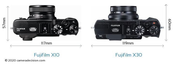 Fujifilm X10 vs Fujifilm X30 Camera Size Comparison - Top View